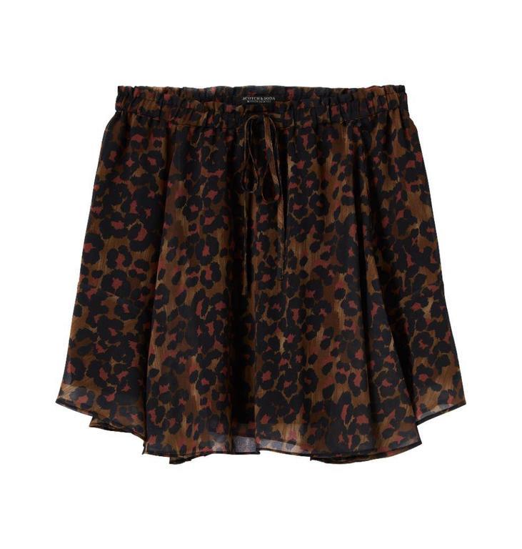 Maison Scotch Brown Short Printed Skirt 144728