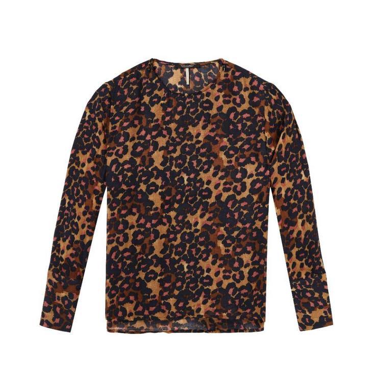 Maison Scotch Leopard Blouse Lange Mouw 143427