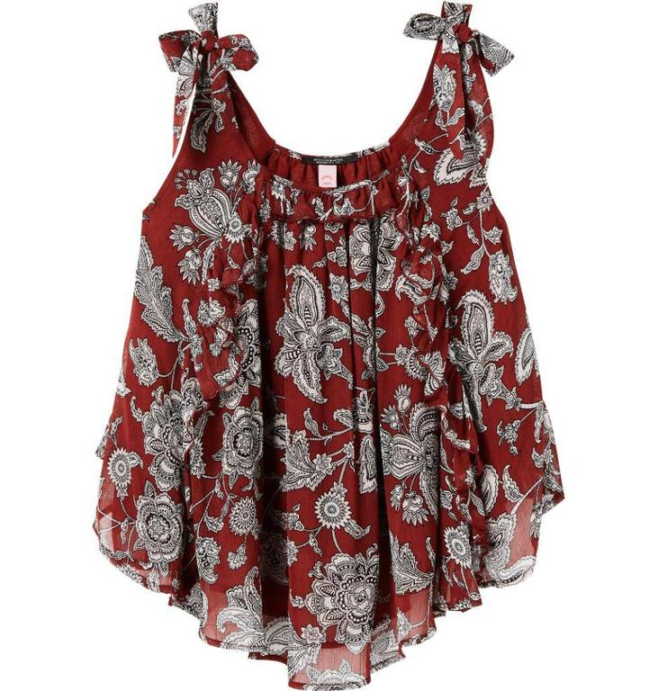 Maison Scotch Red Printed Tank Top 143452