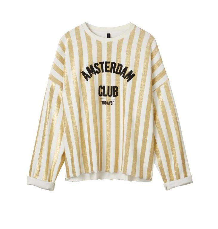 10Days White Sweater Towel Stripe Gold 20.816.8102