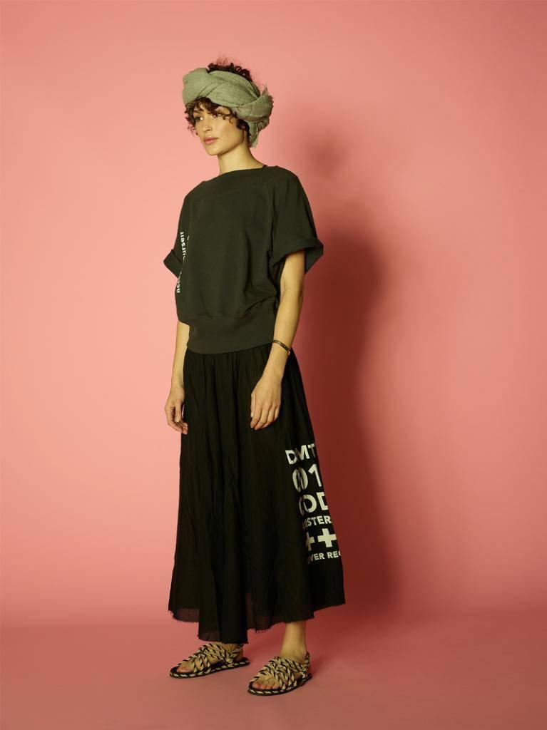 10Days Black Crepe Woven Skirt 20.106.8102