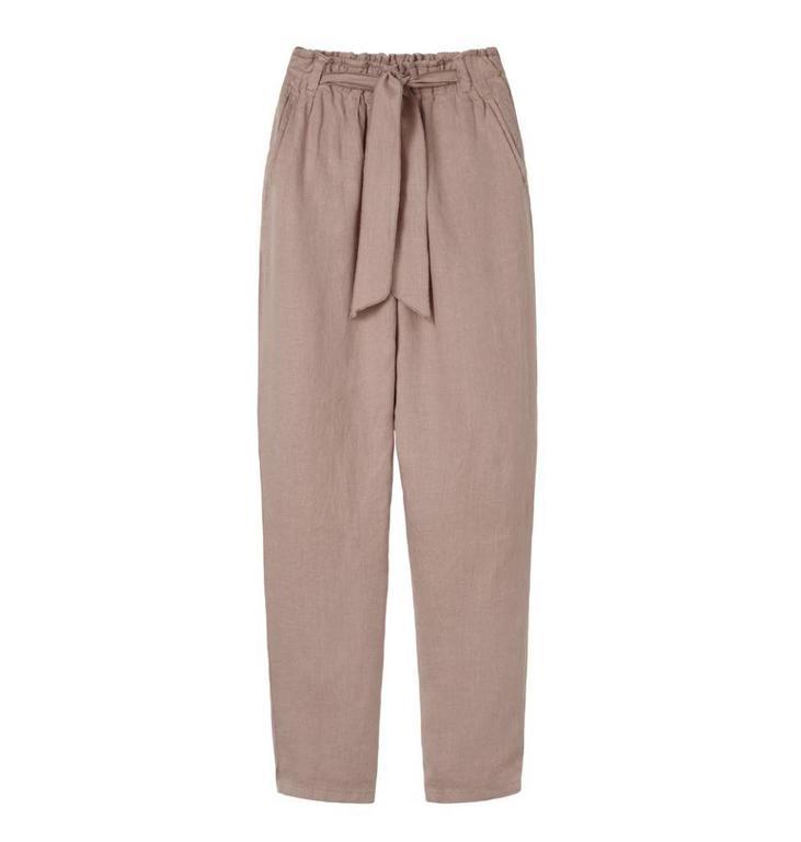 10Days Dark Pale Pink High Waist Linen Pants 20.070.8102