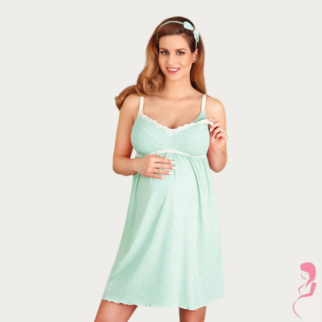 Lupoline Zwangerschapsjurk - Voedingsjurk Mint Candy