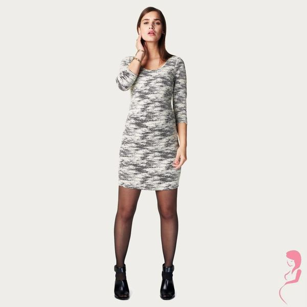 Noppies Zwangerschapsjurk Positiejurk Zwart / Wit Marte met 3/4de Mouw