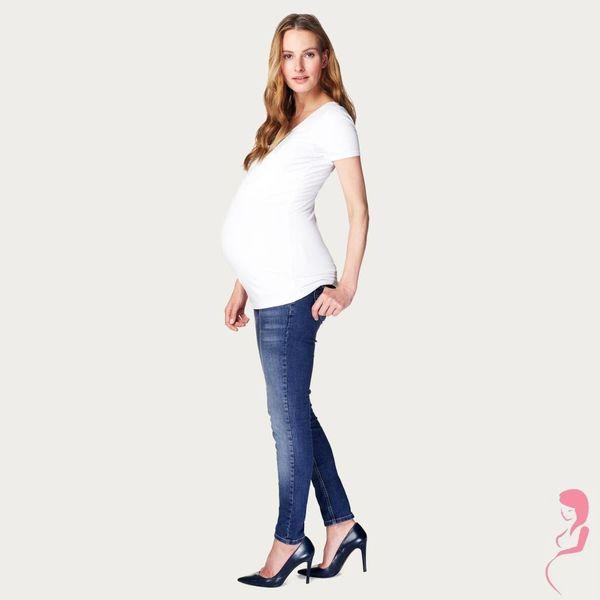 Noppies Zwangerschapsshirt Positieshirt V Hals Amsterdam Korte Mouw Wit