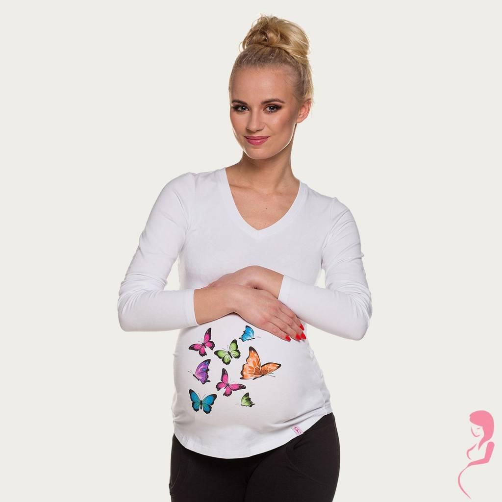 My Tummy Zwangerschapsshirt Longsleeve Lange Mouw Butterflies