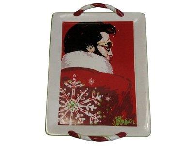 Santa Elvis - Porceleinen Dienblad