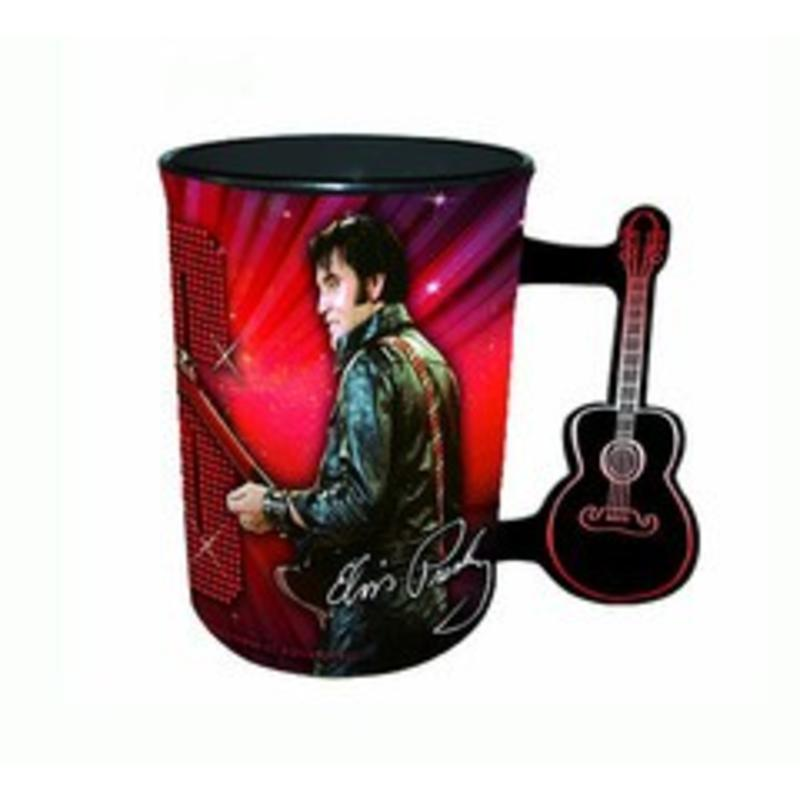 Elvis Mug wGuitar Handle '68 Name In Lights