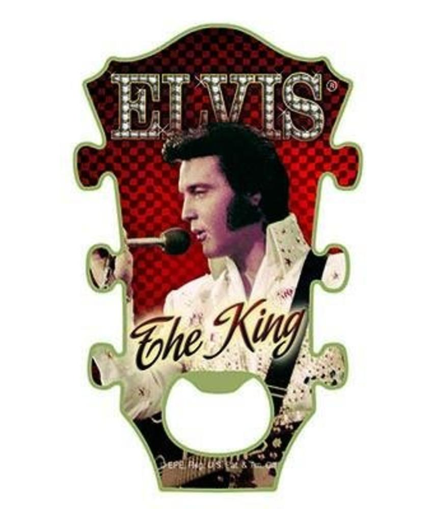 Flessenopener Magneet Elvis The King Red