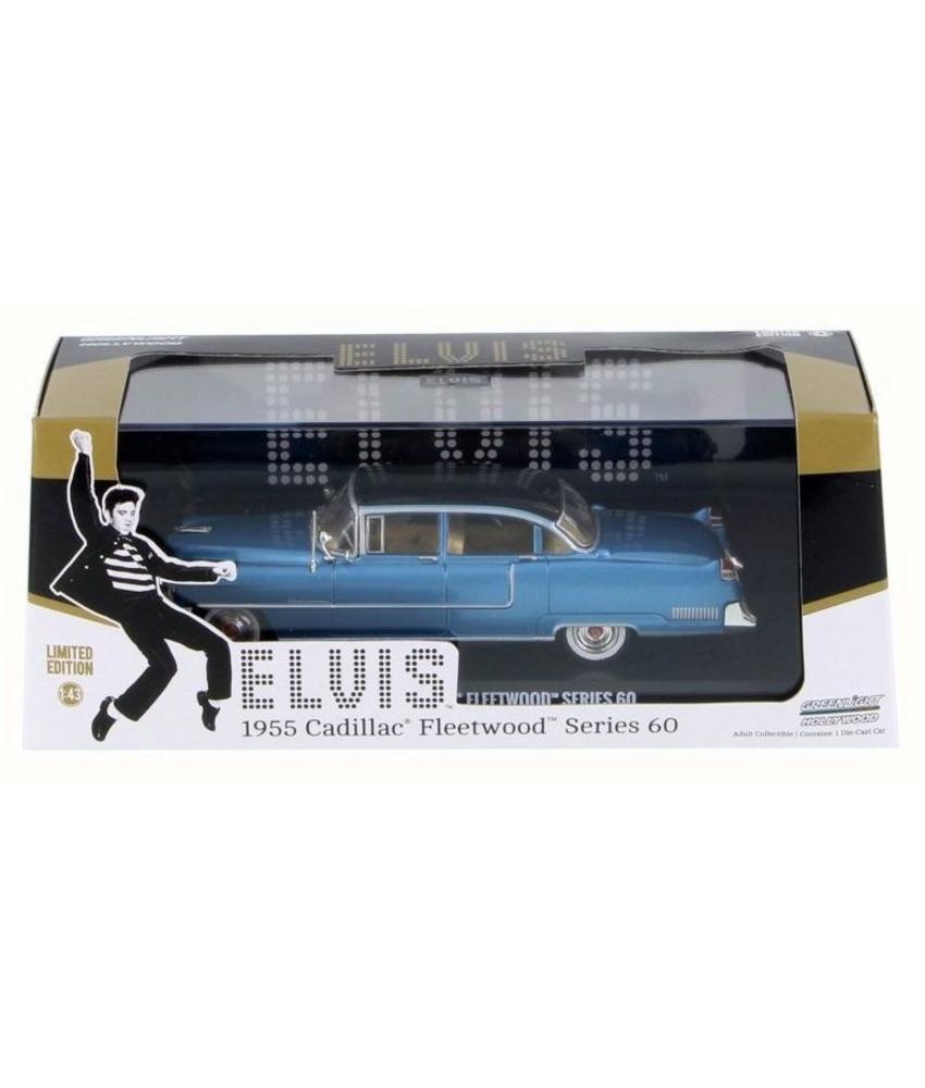 Blue Cadillac Fleetwood Elvis 1955 - Schaal 1/43 - Zwart Dak