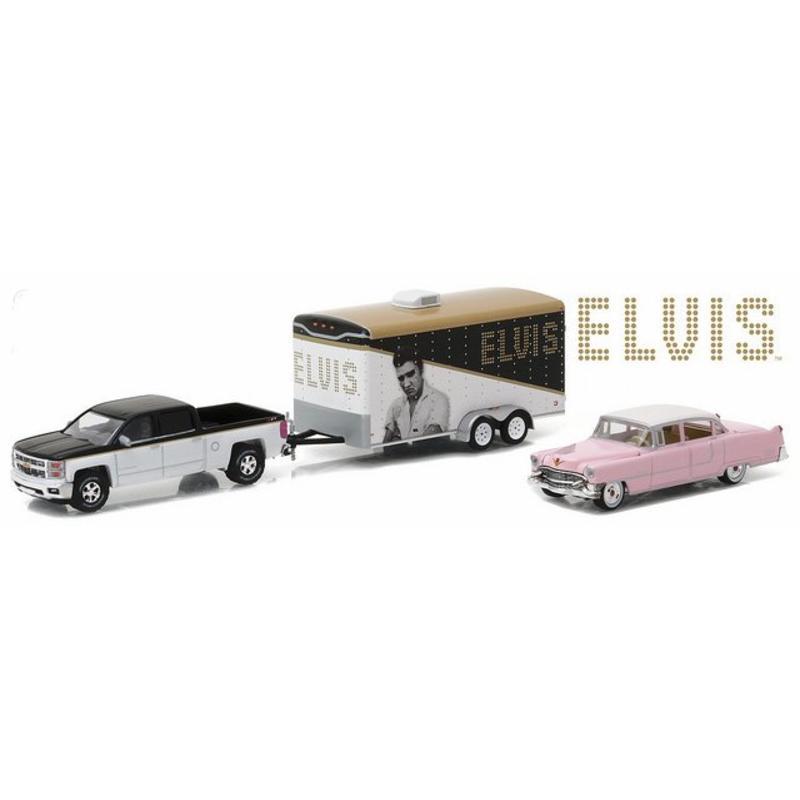 Chevrolet Silverado - Pink Cadillac 1955 - Trailer - Scale 1:64