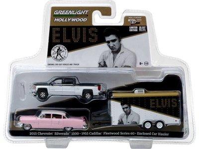 Chevrolet Silverado - Pink Cadillac Elvis 1955 - Trailer - Schaal 1:64