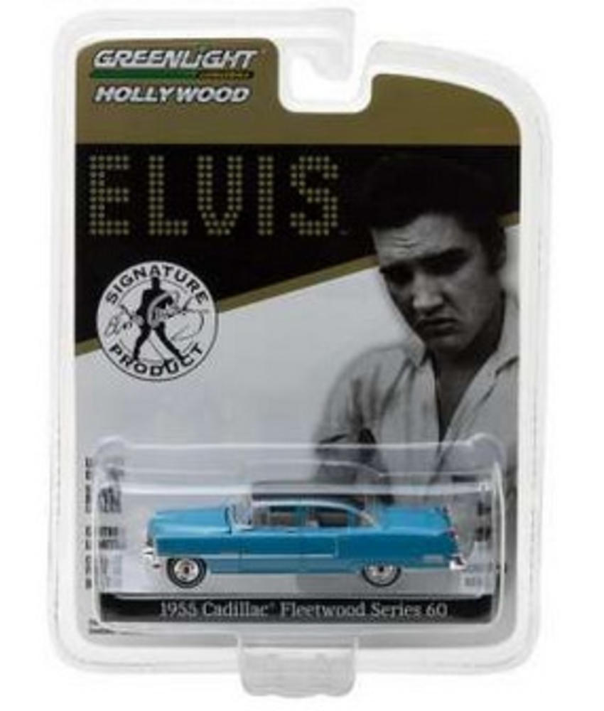 Blue Cadillac Fleetwood Elvis 1955 - Scale 1/64 - Black Roof