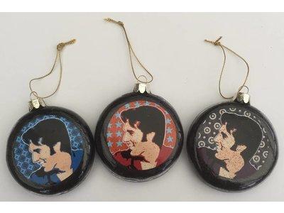 Ornament  Portrait Elvis - Set Van Drie Kerstballen