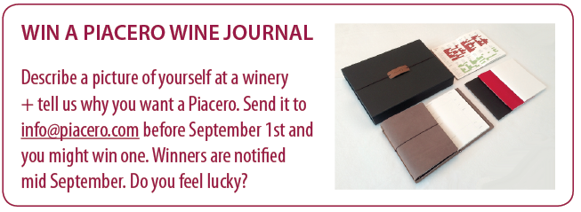 win a Piacero wine journal contest 2015