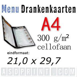 A4 - Menu - Drankenkaarten cellofaanlaag