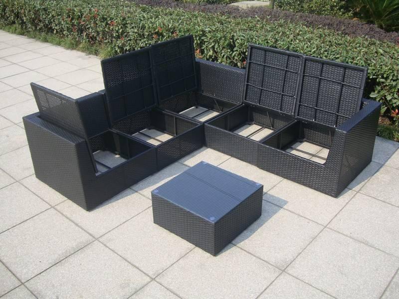 Loungeset met opbergruimte voor kussens - Surprise Zwart ...