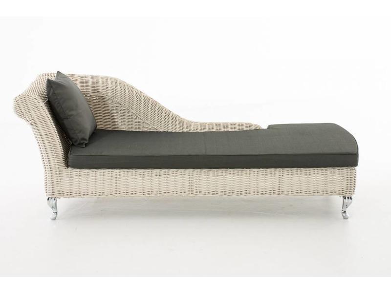"""Chaise longue """" Savannah Wit-Antraciet """""""