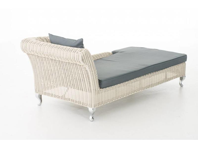 """Chaise longue """" Savannah Wit-Grijs """""""