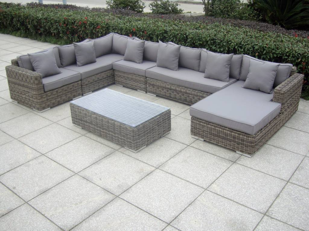 Exclusieve loungeset met chaise longue perfection grijs for Chaise longue speciale