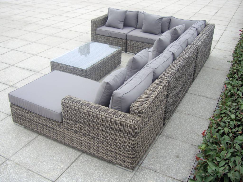 Exclusieve Loungeset met Chaise longue   Perfection Grijs   vhcollection