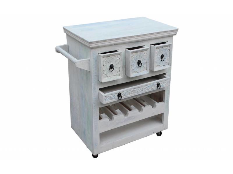 Keukentrolley Whitewash - Bianco