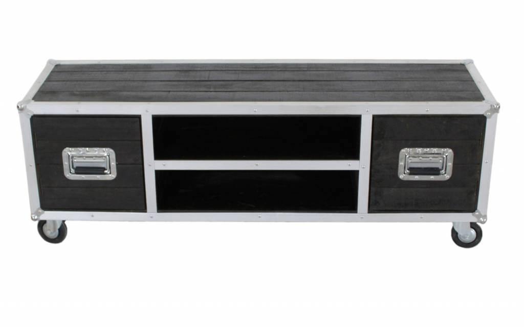 Tv Meubel Wieltjes : Industrieel dressoir tv meubel hardhout metaal op wielen h xbr xd