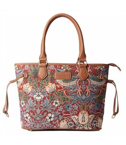 "British-Elegante Handtasche ""Strawberry Thief Red"""