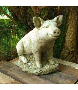 """Landhaus Steinfigur """"Glückliches Schwein"""" für Ihren Garten, Made in UK"""