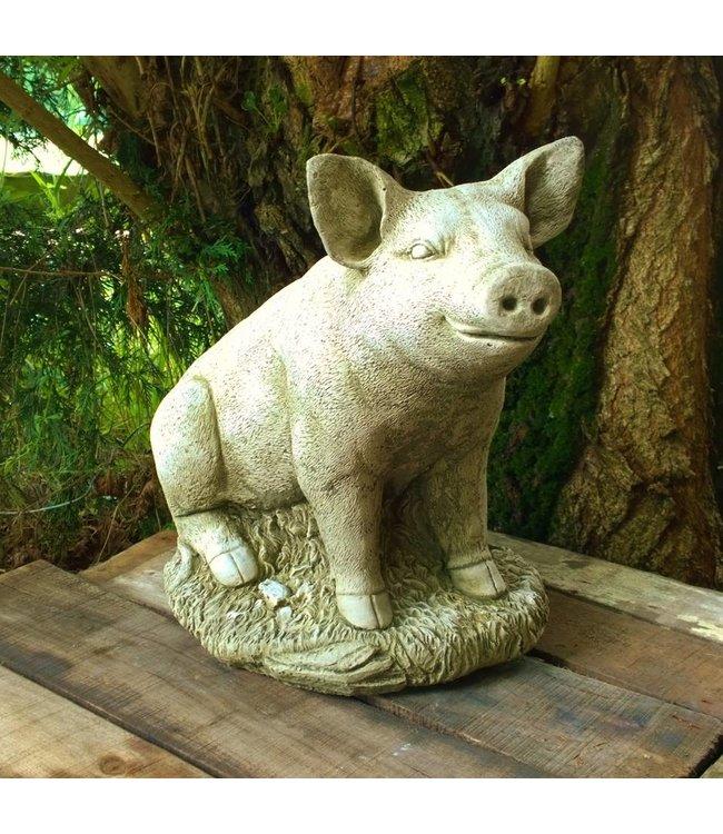 """Steinfiguren Landhausstil Steinfigur """"Glückliches Schwein"""" für Ihren Garten, Made in UK"""