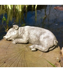 """Garten Steinfigur """"Schlafendes Schwein"""" - Made in UK"""
