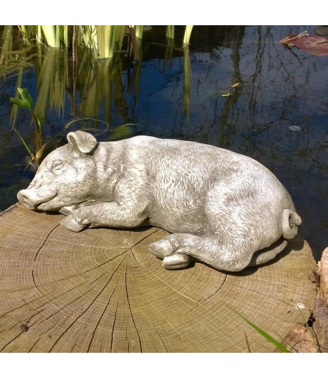 """Steinfigur """"Schlafendes Schwein"""" - Made in UK"""