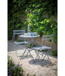 Villa Jähn in Dresden Bistro-Set: 1 Gartentisch und 2 Gartenstühle, grau-blau