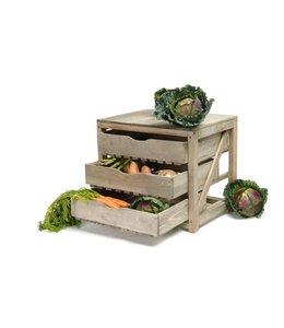 Robuste Obst- und Gemüsehorde aus unbehandeltem Fichtenholz