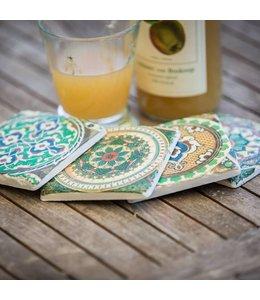 """Shabby Chic Glasuntersetzer Keramik """"Landhausfliesen"""", 4er-Set"""