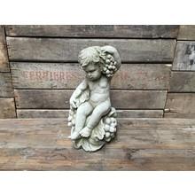 Gartenfiguren aus Stein Engel mit Weintrauben - Stilvolle Steinfigur für den Garten