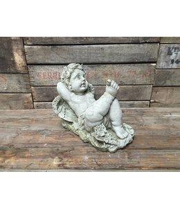 Shabby Chic Träumender Engel - Elegante Steinfigur für den Landhaus Garten