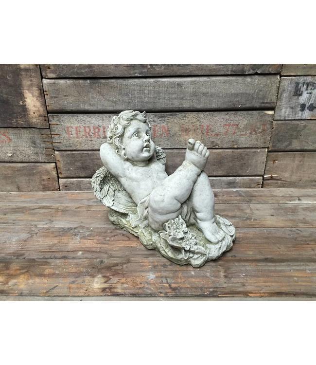Steinfiguren Landhausstil Träumender Engel - Elegante Steinfigur für den Landhaus Garten