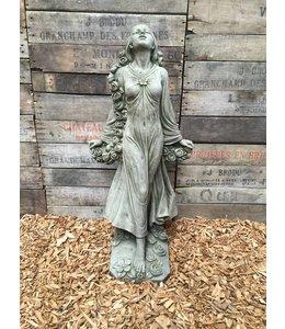 Steinfiguren Landhausstil Steinfigur Blumenmädchen mit Patina