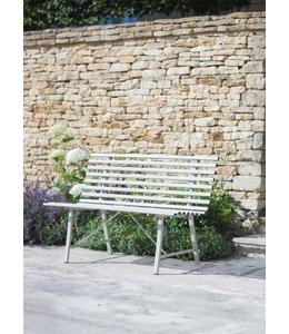 Shabby Chic Englische Gartenbank im Landhausstil, grau