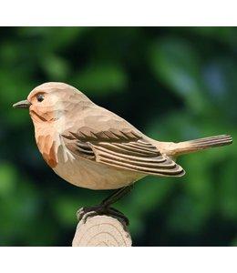 Deko-Vogel Rotkehlchen Lindenholz