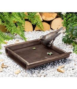Landhaus Vogeltränke mit Amsel Bronze