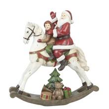 Wohnaccessoires Landhausstil Weihnachtsmann auf Schaukelpferd - Englischer Landhausstil