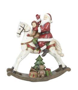 Weihnachtsdekoration Weihnachtsmann auf Schaukelpferd - Englischer Landhausstil