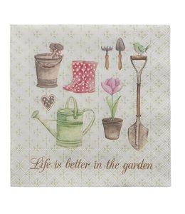 """Landhaus Papierservietten """"Life is better in the garden"""""""