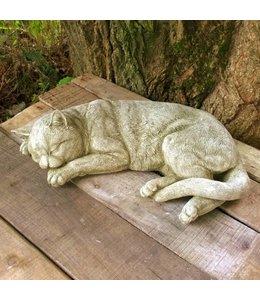 """Garten Steinfigur """"Schlafende Katze"""" im englischen Landhausstil"""