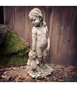 Steinfiguren für den Garten Steinfigur Charlotte mit Teddy