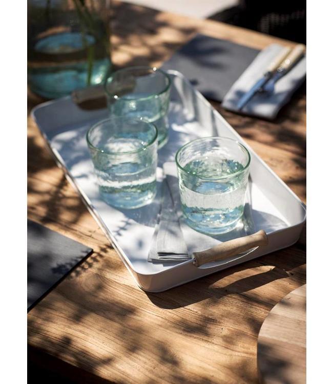 Getränke-Tablett mit Holzgriffen - grau