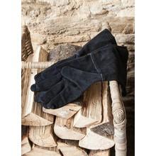 Gartendekoration Landhausstil Lederhandschuhe für Kamin und Feuerholz in schwarz
