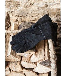 Landhaus Arbeitshandschuhe Leder, schwarz